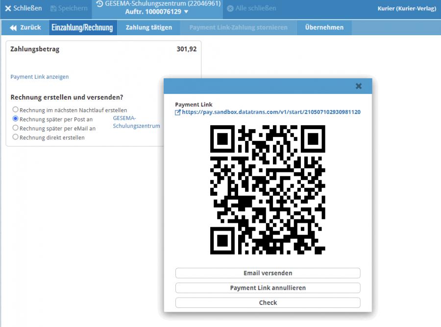 Für Payment Link generierter QR-Code als Bezahllink